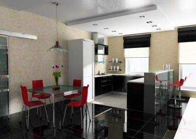 Modern interior of kitchen and dining room