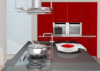 Fragment of modern kitchen interior. 3D rendered.