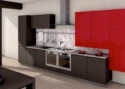 A modern kitchen interior. Made in 3d