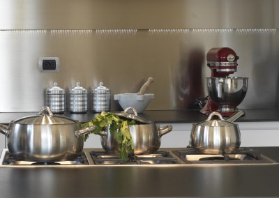 steel pans in modern kitchen and household appliances with orange and celery