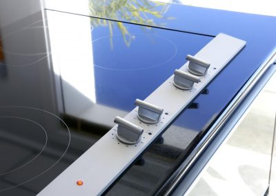 Hob vitroceramic stove kitchen modern detail perspective blue sky reflection